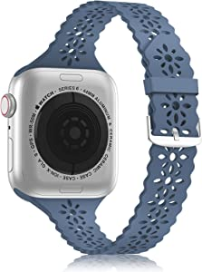 YAXIN Lace Silicone Band Compatible with Apple Watch Band 38mm 40mm 42mm 44mm Women, Slim Narrow Thin Hollowed-out Scalloped Sport Band Replacement Strap for iWatch Series 6 5 4 3 2 1 SE,Alaskan Blue