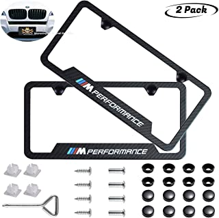2pcs M Performance Logo License Plate Stainless Steel Frame,Applicable to US Standard car License Frame,with Carbon Fiber Textured Glossy Finish Logo for BMW