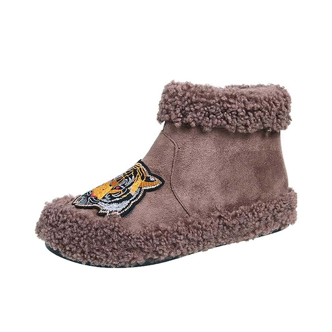 発信平らな皮肉なショートブーツ レディース スノーブーツ ふわふわ ファー付き 刺繍 もこもこ サイドジッパー ボア トラ柄 あったか 防寒 保温 綿靴 雪靴 防滑 歩きやすい コンフォート 柔らかい 美脚 ブラック