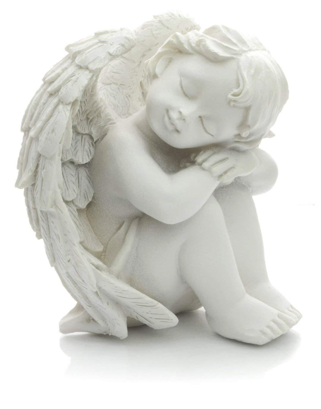 Piquaboo Figurine d/écorative ange ch/érubin blanc