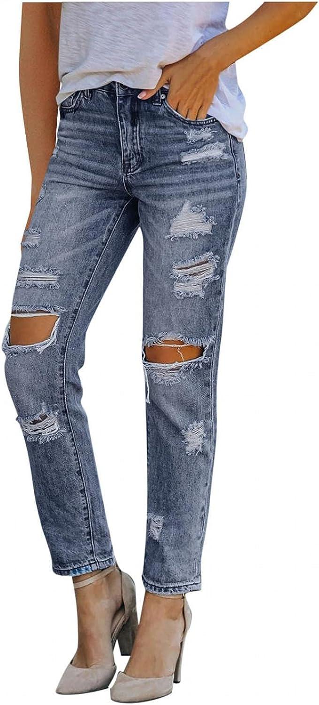 FUNEY Women High Waist Skinny Stretch Ripped Jeans Drawstring Loose Boyfriend Destroyed Distressed Denim Pants Plus Size