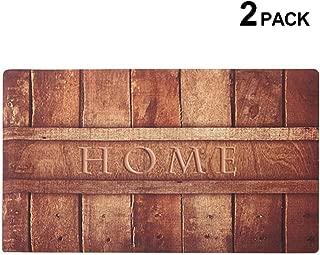 2 Pack Rubber Indoor Doormat Rustic Entrance Welcome Mat 18X30  Low Profile Front Door Mat Home Decor Non Slip Entryway Rug for Apartment Garage Kitchen Wood Words Inside Shoe Scraper Floor Carpet