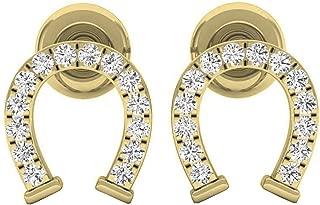 0.10 Carat (ctw) 10K Gold Round White Diamond Ladies Horseshoe Stud Earrings 1/10 CT