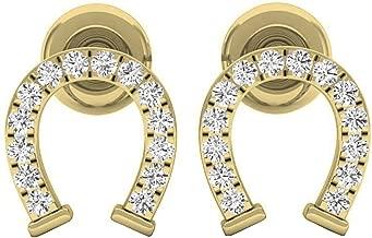 Dazzlingrock Collection 0.10 Carat (ctw) 10K Gold Round White Diamond Ladies Horseshoe Stud Earrings 1/10 CT