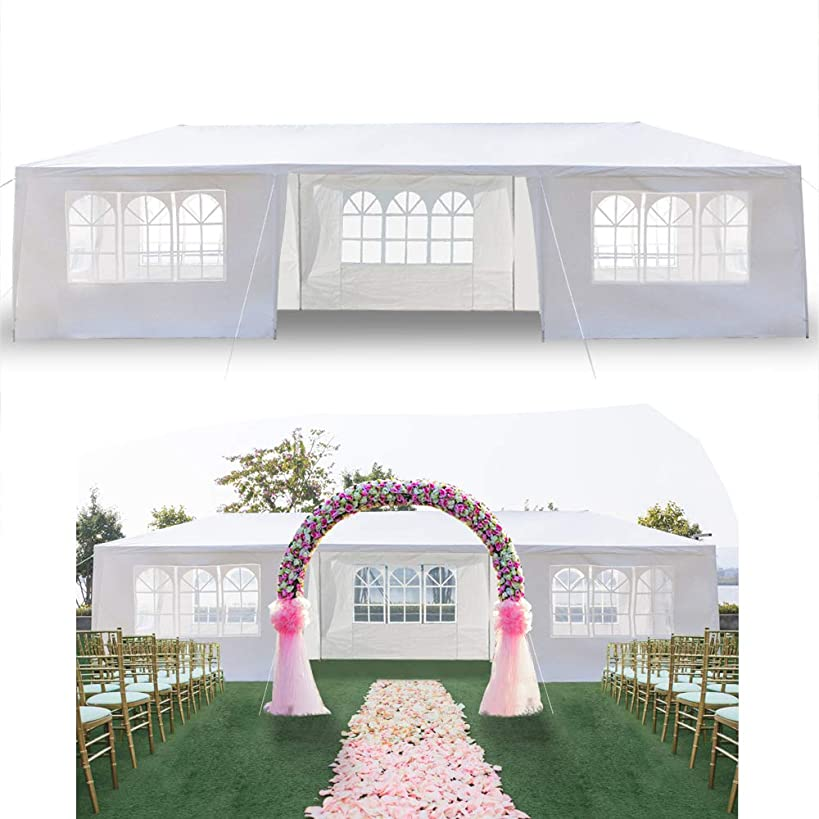 keppoman 10' x 30' Pop Up Canopy Tent Party Tent Commercial Instant Sun Shelter Outdoor Gazebo for Wedding Party Camping Beach w/ 7 Removable Sidewalls