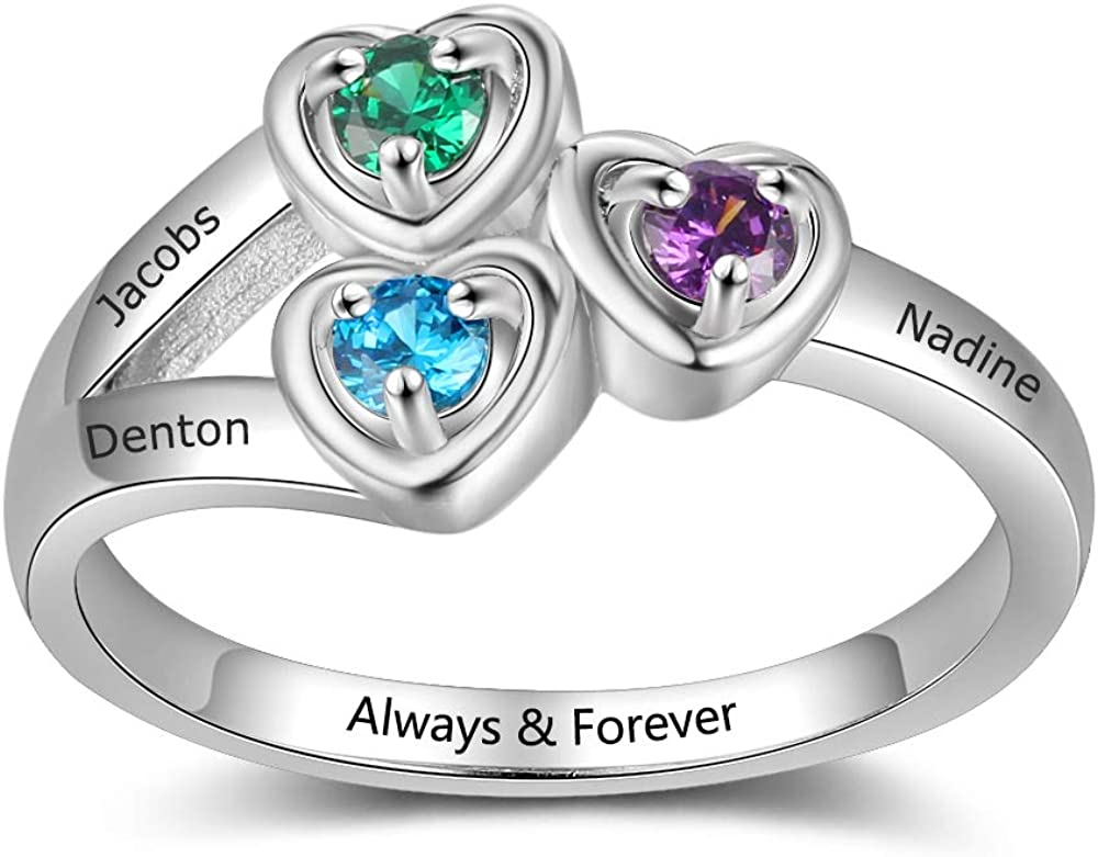 Mother's Simulated Birthstone Heart Deluxe New product!! Ring Na Grandkids Engraved 3