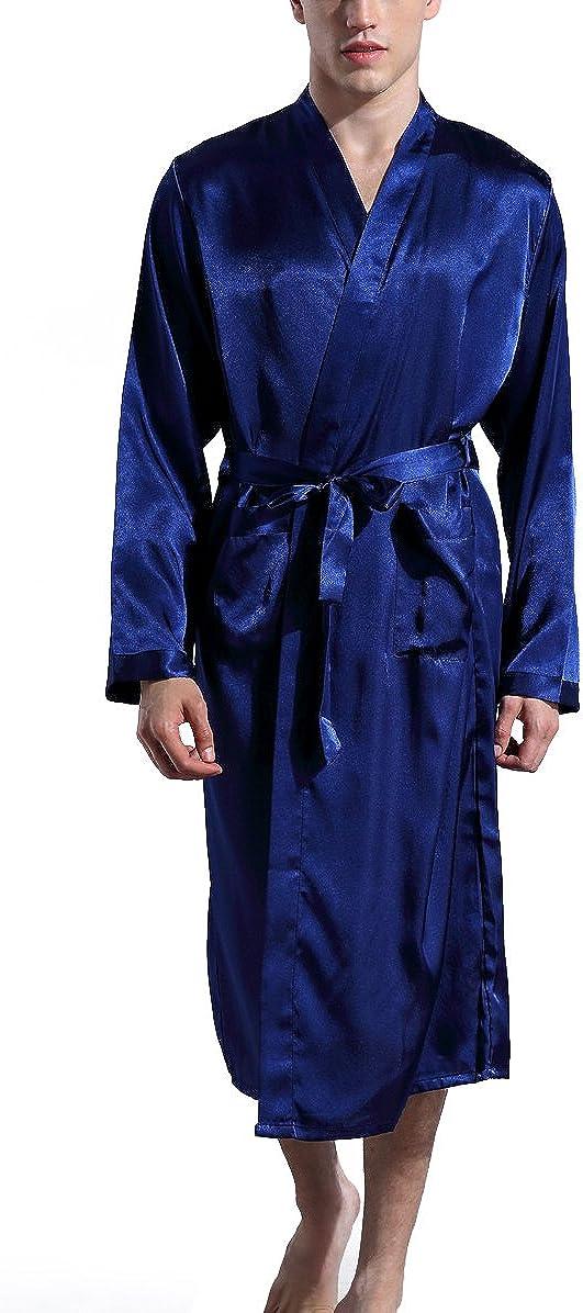 Admireme Men's Satin Kimono Robe Spa Bathrobes Raleigh Mall Sleepw Loungewear Gifts