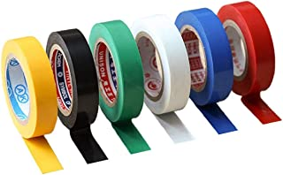 Lakobos Insulation Tape 6 Pack Mixed Colour 15mm x 18mm Electrical Tape PVC Tape Adhesive Gaffer Tape, Suitable for Cable ...