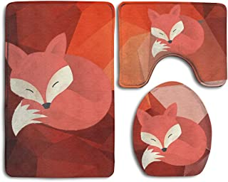 Cute Fox Skidproof Toilet Seat Cover Bath Mat Lid Cover