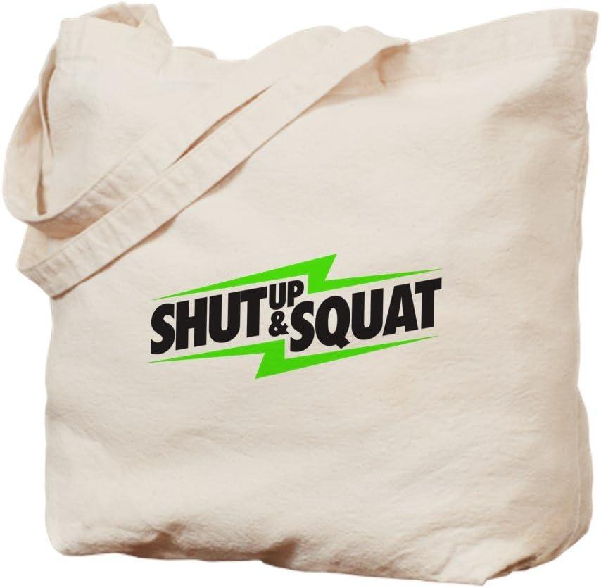 CafePress Shut Up & Squat Tote Bag Natural Canvas Tote Bag, Reusable Shopping Bag