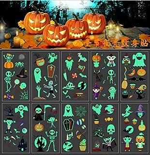 Guizu tillfälliga tatueringar halloween barn lampa attoo set barntatueringar belysning i mörkret barn läskig temporär tatu...