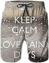 Macevoy KEEP CALM & LOVE RAINY DAYS Thanksgiving Men's Beach Nice Shorts Sweatpants For Summer
