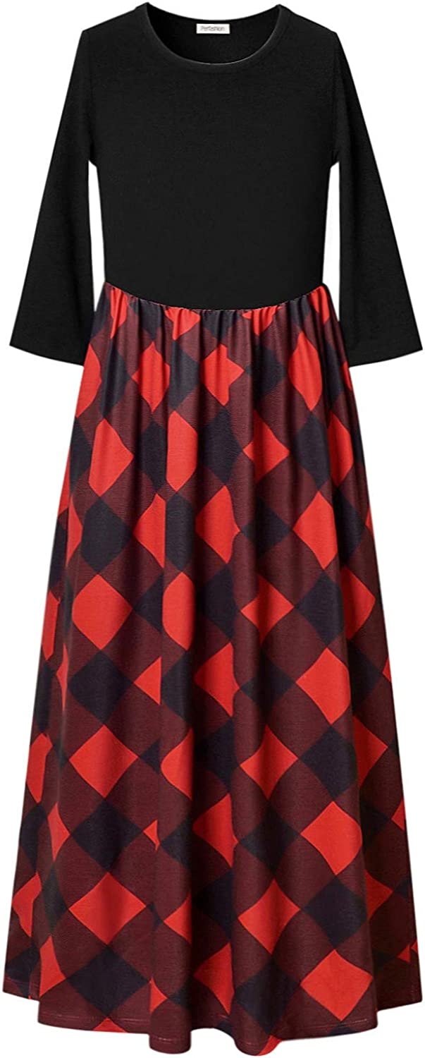 Perfashion Maxi Dress for Girls 3/4 Sleeve Pleated Casual Print Boho Floral Cotton Beach Long Dress with Pockets