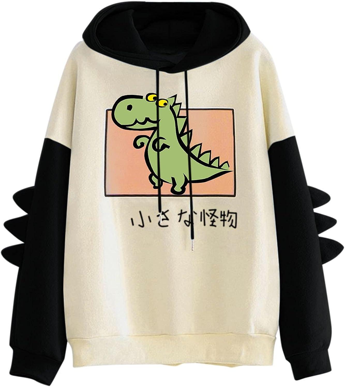 TAYBAGH Women's Cute Hoodie for Teen Girl Long Sleeve Kawaii Dinosaur Print Tees Casual Graphic Animal Top Hoodies Shirt
