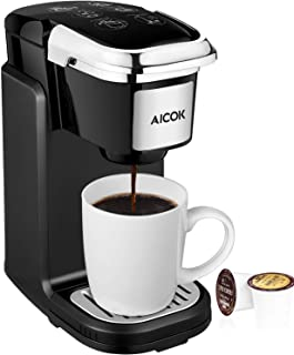 AICOK Single Cup Coffee Maker, Single Serve Coffee Brewer with Removable Cover for Most K-CUP pods, Quick Brew Technology, 800W, Black