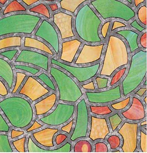Bunte Fensterfolie Reims Adhesive - Klebefilm Bleiglas Look 0,67 m x 2 m grün orange