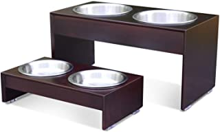 """PetFusion Elevated Dog Bowls, Cat Bowls - Bamboo Feeder W/Water Resistant Seal (Short 4""""). Us Food Grade Stainless Steel R..."""