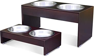 PetFusion Elevated Dog Bowls, Cat Bowls -- Bamboo feeder w/ Water Resistant seal (Short 4