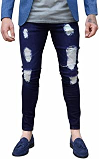 TOOPOOT Mens Jeans, Slim Fit Distressed Holes Moto Distressed Destroyed Fashion Skinny Jeans