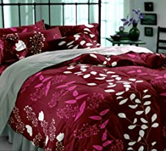 DECO READY Glace Cotton Double Bed Floral Design Print Cotton King Size Double 1 Bedsheet with 2 Pillow Covers Multi Colour (red)