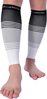Doc Miller Premium Calf Compression Sleeve DRESS SERIES 1 Pair 20-30mmHg Strong Calf Support Cute Toeless Socks Sports Running Recovery Shin Splints Varicose Veins (BlackGrayWhite, Medium)