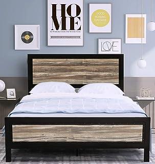 Amolife Full Size Bed Frame with Headboard/Platform Bed Metal Bed Frame/Strong Slat Support/No Box Spring Needed, Black