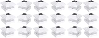 RELIGHTABLE 18 Pack Outdoor Garden 5 x 5 Solar LED Post Deck Cap Square Fence Light Landscape Lamp Lawn PVC Vinyl Wood (White)