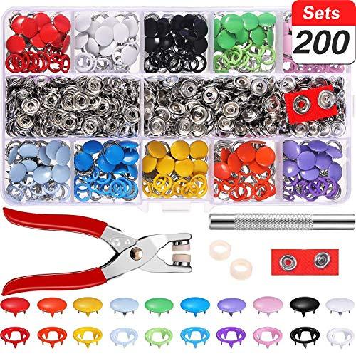 MLIAIMCE 200 sets Druckknöpfe kit mit Zange,9,5 mm Metall Knöpfe 10 Farben Nähzubehör Button,für DIY Basteln Baby Kinder Jersey Stoff,Kleidung Taschen,handgemaakt,kleding repareren