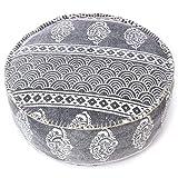 Eyes of India - Redondo Dhurrie Bloque Dibujo Otomano Puf Cubierta Suelo Bohemio India Colorido Boho - F# Gris, 24 X 8 in. (61 X 20 cm)