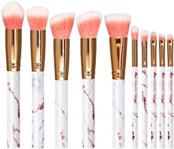 Marble Pattern Pink Makeup Brush Nevsetpo Premium Synthetic Foundation Eyeshadow Contour Face Kabuki Make up Brushes Set for Girls (Marble Pink)