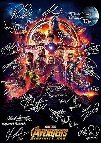 Avengers Infinity War Ironman Spiderman autografato 30 x 40 cm
