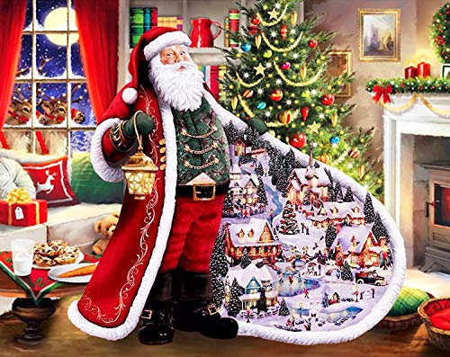 5D DIY Diamond Painting Kits for Adults Full Drill Diamond Art Paintings Christmas Santa Elk Sleigh Animal Snowman Paint by Number with Diamond Dotz Home Wall Decor(12 x 16 Inch) (Christmas 1)