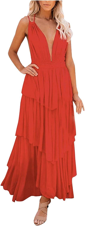 Kaideny Women Plain Max 83% OFF Chicago Mall Spaghetti Strap Backless V Deep Neck Sleevel
