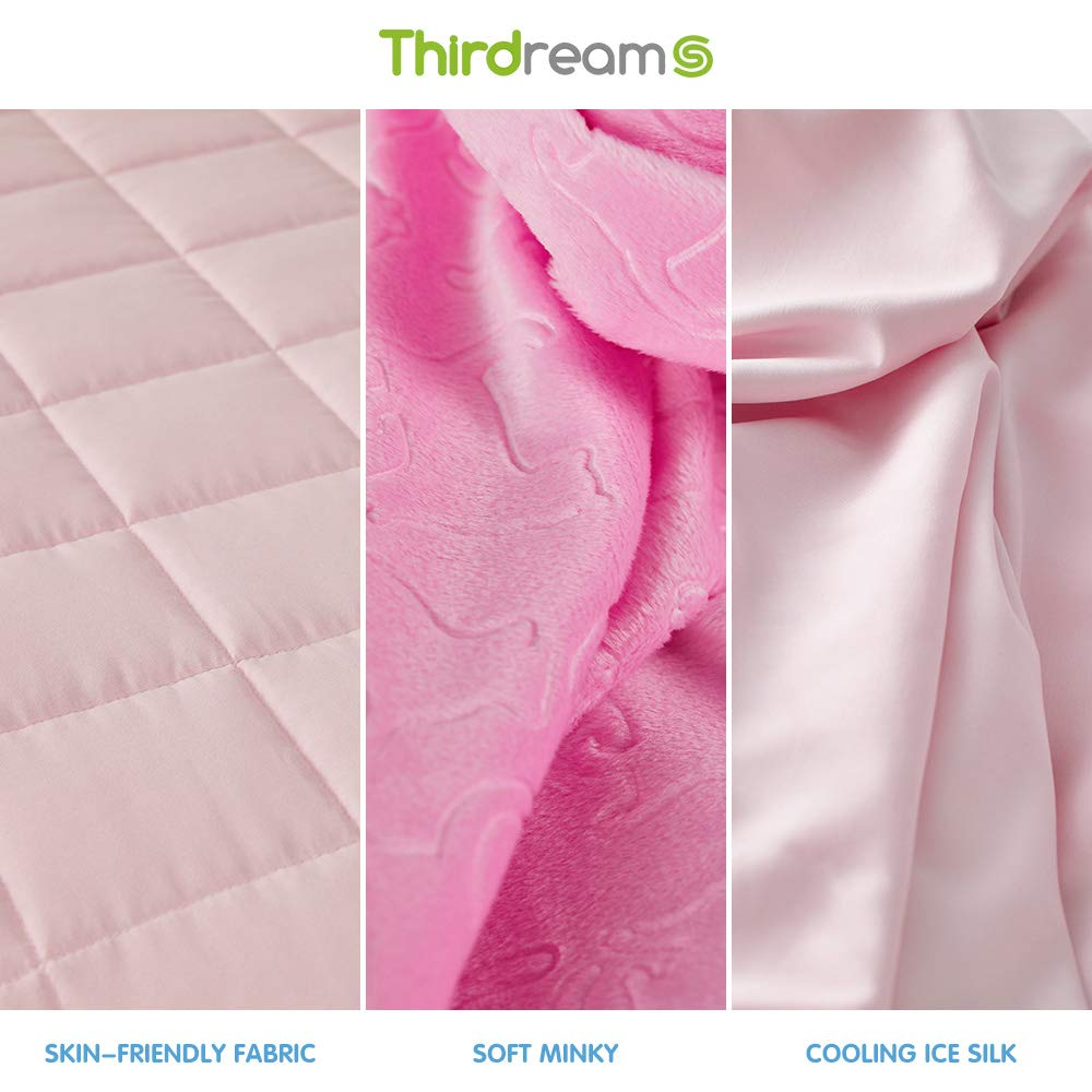 """Thirdream Kids Weighted Blanket 7lbs with 2 Removable Washable Covers 3 Pieces Blue 41/"""" x 60/"""" Twin Size Soft Minky Cover and Ice Silk Cover"""