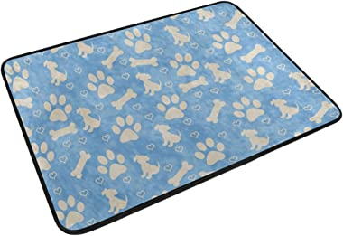 Mydaily Dog with Claw Bone Doormat 15.7 x 23.6, Living Room Bedroom Kitchen Bathroom Decorative Unique Lightweight Printed Ru