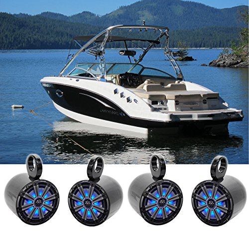 "(4) KICKER 45KM84L 8"" 1200 Watt Marine Boat Wakeboard Tower Speakers w/LED's KM8"