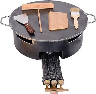 Gjutjärn crepe brännare, kommersiell pannkaka maker traditionell gas crepe maskin pan griddle maskin non-stick, kan använd...