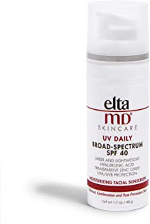 EltaMD UV Daily Face Sunscreen Moisturizer with Hyaluronic Acid, Broad Spectrum SPF 40, Non greasy, Sheer Zinc Oxide Lotio...