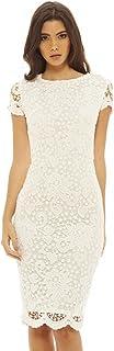 AX Paris Women`s Crochet Lace Midi White Dress(White, Size:8)