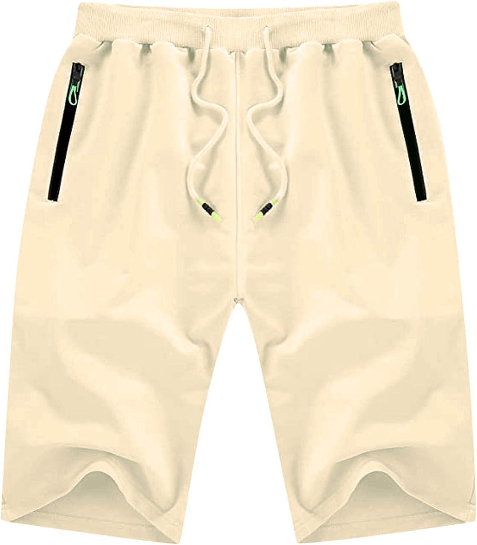 XUETON Mens Shorts Elastic Waisted Drawstring Shorts Casual Classic Fit Summer Beach Shorts with Pockets