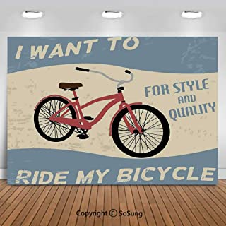 10x10Ft Vinyl 1960s Decor Backdrop for Photography,I Want to Ride My Bicycle For Style and Quality Bike Tour Vintage Grunge Poster Style Art Decorative Background Newborn Baby Photoshoot Portrait Stud