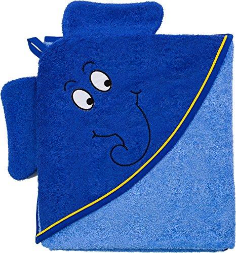 Smithy® Kinder-Kapuzenhandtuch aus Baumwolle – super weiches und praktisches Babyhandtuch mit Kapuze – blau mit Original blauer Elefant aus Die Sendung mit der Maus– Größe 100 cm x 100 cm