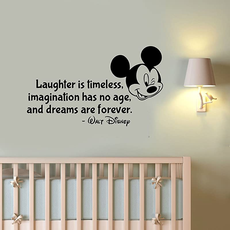 Laughter Is Timeless Wall Decal Quote Sticker Vinyl Lettering Inspirational Saying Art Mickey Mouse Head Decorations For Home Kids Room Bedroom Cartoon Decor Hq17