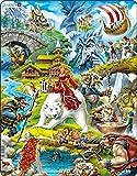 Larsen US23 Trolls y Otros Personajes de Cuentos folclricos noruegos, Puzzle de Marco con 30 Piezas