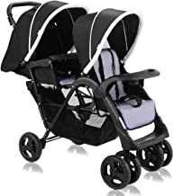 Costzon Double Stroller, Twin Tandem Baby Stroller with Adjustable Backrest, Footrest, 5 Points Safety Belts, Foldable Design for Easy Transportation (Pure Black)