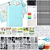 Dotted Journal Kit, A5 Bullet Grid Journal Loose Leaf with 6 Ring Binder Journal Stencil Plastic 24 Colored Pens Stickers Scissors Tapes Storage Stationery Bag for Journal Diary Schedule Planner