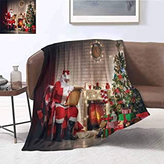 Luoiaax Santa Children's Blanket Old Santa Claus Sitting at Home at Christmas Night Reading a Letter Near The Tree Lightweight Soft Warm and Comfortable W55 x L55 Inch Multicolor