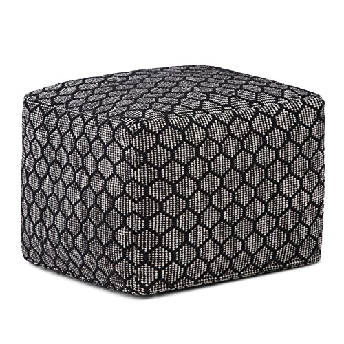Simpli Home Simpson Transitional Square Pouf in Patterned Black, Natural Cotton