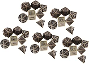IPOTCH Antique Copper Solid Metal Polyhedral D&D Dice, Set of 5 Old Copper Metal RPG Role Playing Game Dice, 35 Pcs