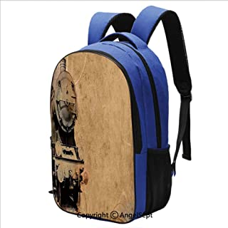 16.5 inch Laptop Backpack Antique Old Iron Train Aged Sepia Grunge Style Indust